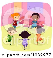 Clipart Diverse Stick Students Playing In A Classroom Royalty Free Vector Illustration