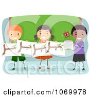 Clipart Diverse Stick Students Studying Butterflies Royalty Free Vector Illustration