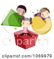 Clipart Stick Students Playing On Shapes Royalty Free Vector Illustration