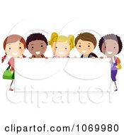 Clipart Stick Students Holding A Blank Banner 1 Royalty Free Vector Illustration