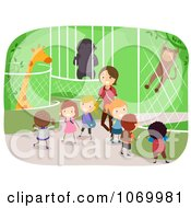 Clipart Teacher With Diverse Stick Students At A Zoo Royalty Free Vector Illustration by BNP Design Studio