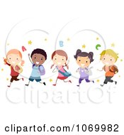 Clipart Diverse Stick Students Running Royalty Free Vector Illustration
