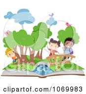 Clipart Diverse Stick Students In A Pop Up Book Scene Royalty Free Vector Illustration
