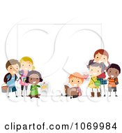 Clipart Stick Students Holding A Blank Banner 2 Royalty Free Vector Illustration