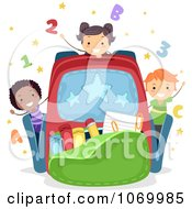 Clipart Diverse Stick Students Playing In A Backpack Royalty Free Vector Illustration