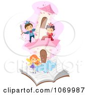Clipart Diverse Stick Students Playing In A Pop Up Story Book Royalty Free Vector Illustration by BNP Design Studio