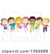 Clipart Diverse Stick Students In A Line Royalty Free Vector Illustration