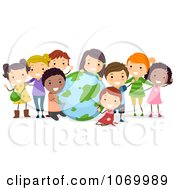 Clipart Diverse Stick Students With A Globe Royalty Free Vector Illustration