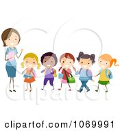 Clipart Female Teacher And A Line Of Diverse Stick Students Royalty Free Vector Illustration