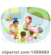 Clipart Teacher Playing Music For Diverse Stick Students Royalty Free Vector Illustration