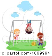 Clipart Diverse Stick Students Playing On The Monkey Bars Royalty Free Vector Illustration