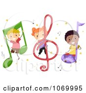 Clipart Diverse Stick Students With Music Notes Royalty Free Vector Illustration