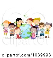Clipart Diverse Stick Students With Plants And A Globe Royalty Free Vector Illustration