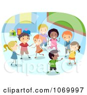 Clipart Diverse Stick Students Playing In A Class Room Royalty Free Vector Illustration