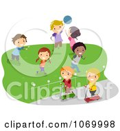 Clipart Diverse Stick Students Playing In A Field Royalty Free Vector Illustration by BNP Design Studio