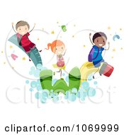 Clipart Diverse Stick Students Playing On School Items Royalty Free Vector Illustration
