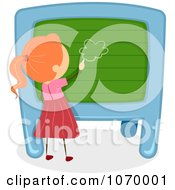 Clipart Stick Girl Drawing On A Chalk Board Royalty Free Vector Illustration