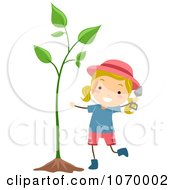 Clipart Stick Girl With A Plant Royalty Free Vector Illustration