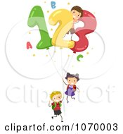 Clipart Stick Students With Number Balloons Royalty Free Vector Illustration