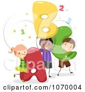 Clipart Diverse Stick Students With Letters Royalty Free Vector Illustration