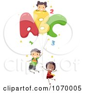Clipart Diverse Stick Students With Letter Balloons Royalty Free Vector Illustration
