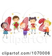 Clipart Diverse Stick Students Doing Addition Royalty Free Vector Illustration