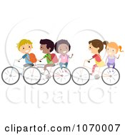 Clipart Diverse Stick Students Riding Bikes To School Royalty Free Vector Illustration