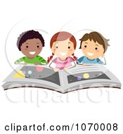 Clipart Diverse Stick Students Reading A Book On The Planets Royalty Free Vector Illustration