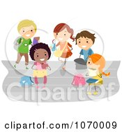 Clipart Diverse Stick Students Eating Lunch Royalty Free Vector Illustration