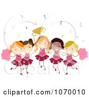 Clipart Diverse Stick Girls Cheerleading Royalty Free Vector Illustration