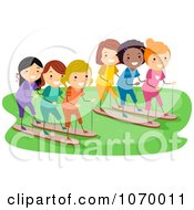 Clipart Diverse Stick Girls Racing Royalty Free Vector Illustration