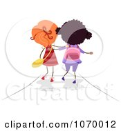Clipart Diverse Stick Girls Walking To School Royalty Free Vector Illustration