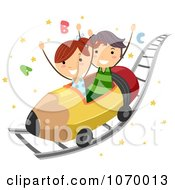 Clipart Stick Students On An ABC Roller Coaster Ride Royalty Free Vector Illustration