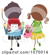 Clipart Stick Students Walking Together Royalty Free Vector Illustration