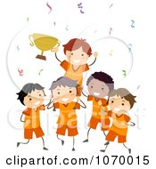 Clipart Boys Sports Team Holding A Trophy Royalty Free Vector Illustration