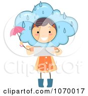 Clipart Stick Girl Reading A Rainy Weather Forecast Royalty Free Vector Illustration by BNP Design Studio
