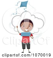 Clipart Stick Boy Announcing A Windy Weather Forecast Royalty Free Vector Illustration by BNP Design Studio