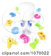 Clipart 3d Ivory Student With Letters And Numbers Royalty Free CGI Illustration
