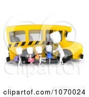 Clipart 3d Ivory Kids Loading A School Bus Royalty Free CGI Illustration by BNP Design Studio