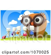 Clipart 3d Ivory Students Walking Into An Owl School Royalty Free CGI Illustration