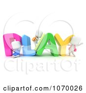 Clipart 3d Ivory Students With PLAY Royalty Free CGI Illustration