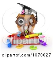 Clipart 3d Ivory Students Playing In An Owl School House Royalty Free CGI Illustration