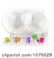 Clipart 3d Ivory Students Painting Together Royalty Free CGI Illustration