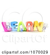 Clipart 3d Ivory Students With LEARN Royalty Free CGI Illustration