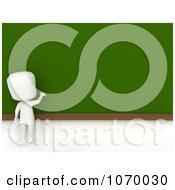 Clipart 3d Ivory Student Drawing On A Chalk Board Royalty Free CGI Illustration
