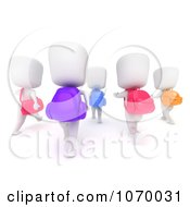 Clipart 3d Ivory Students Walking Together 1 Royalty Free CGI Illustration