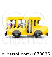 Clipart 3d Ivory Kids Waving On A School Bus Royalty Free CGI Illustration