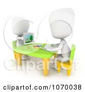 Clipart 3d Ivory Students Drawing In Art Class Royalty Free CGI Illustration