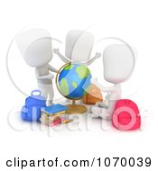 Clipart 3d Students Playing With A Desk Globe Royalty Free CGI Illustration