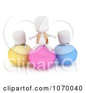 Clipart 3d Ivory Students On Balls Royalty Free CGI Illustration